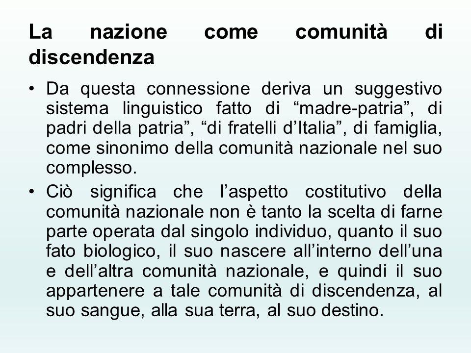 """La nazione come comunità di discendenza Da questa connessione deriva un suggestivo sistema linguistico fatto di """"madre-patria"""", di padri della patria"""""""