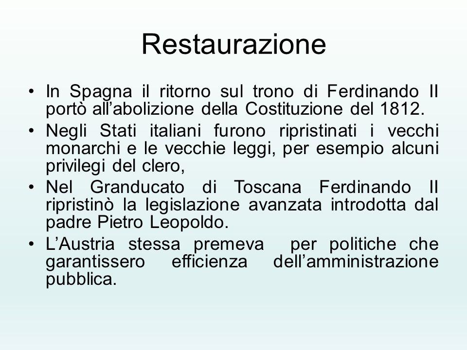 Restaurazione In Spagna il ritorno sul trono di Ferdinando II portò all'abolizione della Costituzione del 1812. Negli Stati italiani furono ripristina