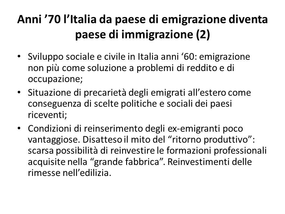 Anni '70 l'Italia da paese di emigrazione diventa paese di immigrazione (2) Sviluppo sociale e civile in Italia anni '60: emigrazione non più come soluzione a problemi di reddito e di occupazione; Situazione di precarietà degli emigrati all'estero come conseguenza di scelte politiche e sociali dei paesi riceventi; Condizioni di reinserimento degli ex-emigranti poco vantaggiose.