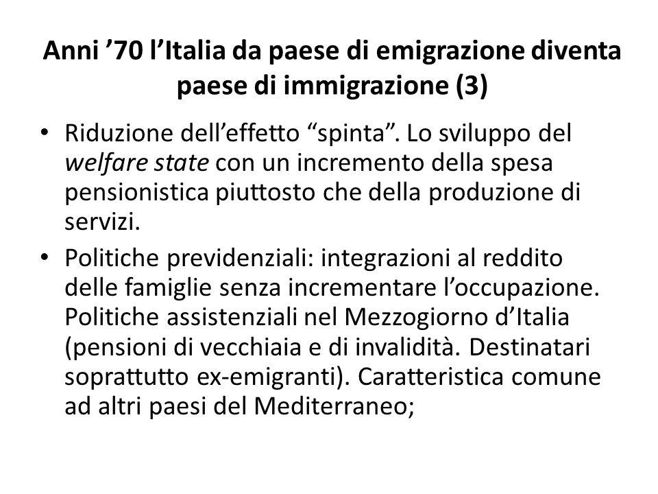 """Anni '70 l'Italia da paese di emigrazione diventa paese di immigrazione (3) Riduzione dell'effetto """"spinta"""". Lo sviluppo del welfare state con un incr"""