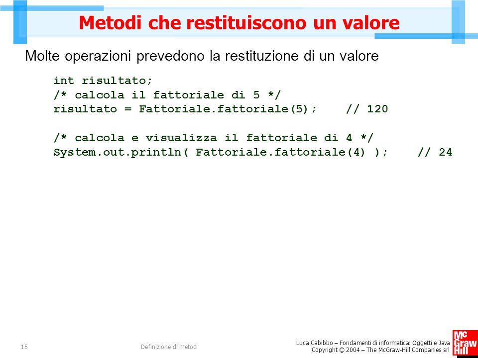 Luca Cabibbo – Fondamenti di informatica: Oggetti e Java Copyright © 2004 – The McGraw-Hill Companies srl Definizione di metodi15 Metodi che restituiscono un valore Molte operazioni prevedono la restituzione di un valore int risultato; /* calcola il fattoriale di 5 */ risultato = Fattoriale.fattoriale(5); // 120 /* calcola e visualizza il fattoriale di 4 */ System.out.println( Fattoriale.fattoriale(4) ); // 24