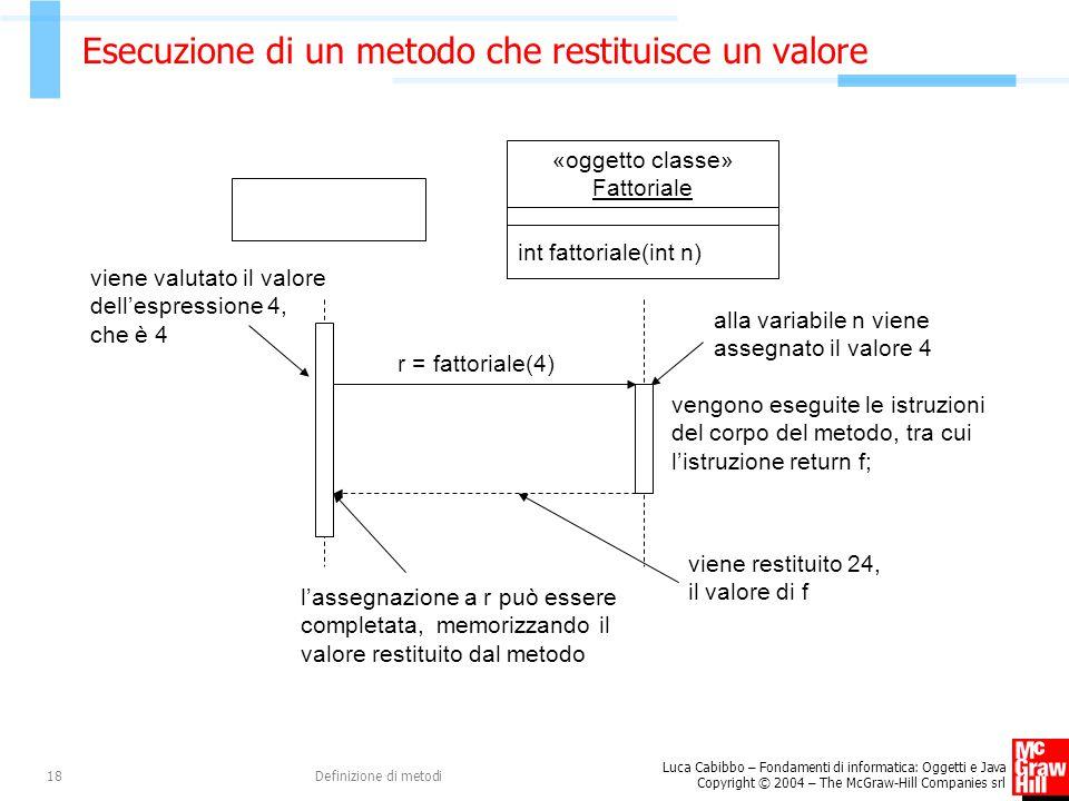 Luca Cabibbo – Fondamenti di informatica: Oggetti e Java Copyright © 2004 – The McGraw-Hill Companies srl Definizione di metodi18 Esecuzione di un metodo che restituisce un valore vengono eseguite le istruzioni del corpo del metodo, tra cui l'istruzione return f; alla variabile n viene assegnato il valore 4 «oggetto classe» Fattoriale int fattoriale(int n) r = fattoriale(4) viene restituito 24, il valore di f l'assegnazione a r può essere completata, memorizzando il valore restituito dal metodo viene valutato il valore dell'espressione 4, che è 4