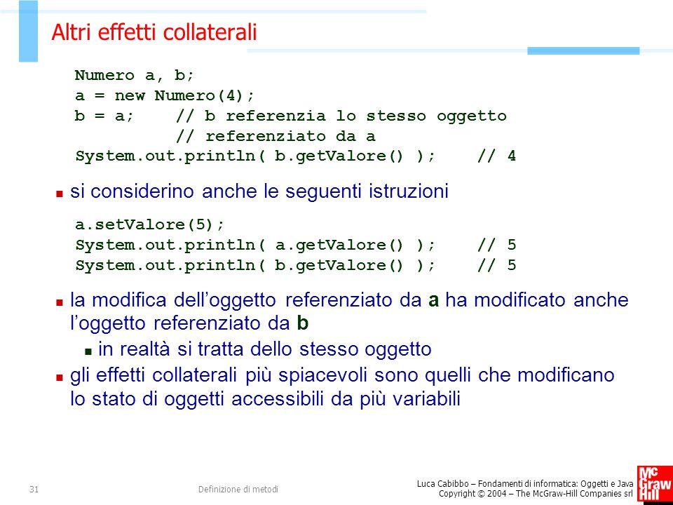 Luca Cabibbo – Fondamenti di informatica: Oggetti e Java Copyright © 2004 – The McGraw-Hill Companies srl Definizione di metodi31 Altri effetti collaterali Numero a, b; a = new Numero(4); b = a; // b referenzia lo stesso oggetto // referenziato da a System.out.println( b.getValore() ); // 4 si considerino anche le seguenti istruzioni a.setValore(5); System.out.println( a.getValore() ); // 5 System.out.println( b.getValore() ); // 5 la modifica dell'oggetto referenziato da a ha modificato anche l'oggetto referenziato da b in realtà si tratta dello stesso oggetto gli effetti collaterali più spiacevoli sono quelli che modificano lo stato di oggetti accessibili da più variabili
