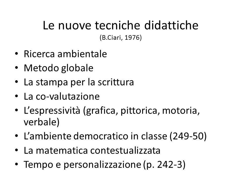 Le nuove tecniche didattiche (B.Ciari, 1976) Ricerca ambientale Metodo globale La stampa per la scrittura La co-valutazione L'espressività (grafica, p