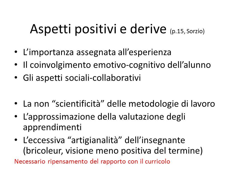 Aspetti positivi e derive (p.15, Sorzio) L'importanza assegnata all'esperienza Il coinvolgimento emotivo-cognitivo dell'alunno Gli aspetti sociali-col