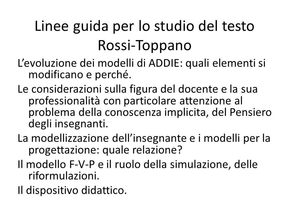 Linee guida per lo studio del testo Rossi-Toppano L'evoluzione dei modelli di ADDIE: quali elementi si modificano e perché. Le considerazioni sulla fi