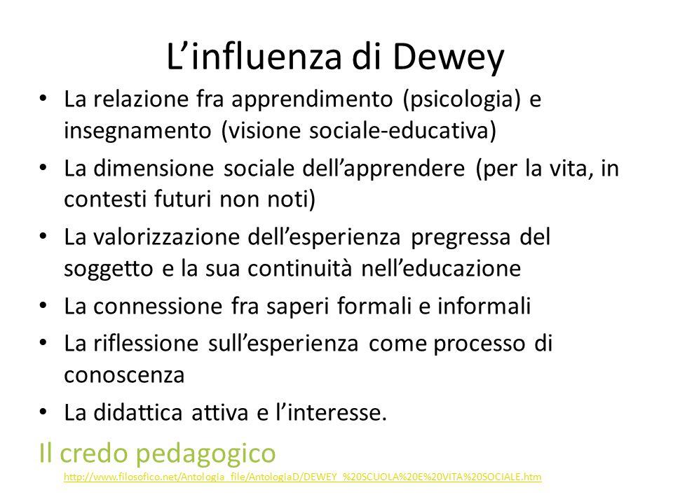 L'influenza di Dewey La relazione fra apprendimento (psicologia) e insegnamento (visione sociale-educativa) La dimensione sociale dell'apprendere (per