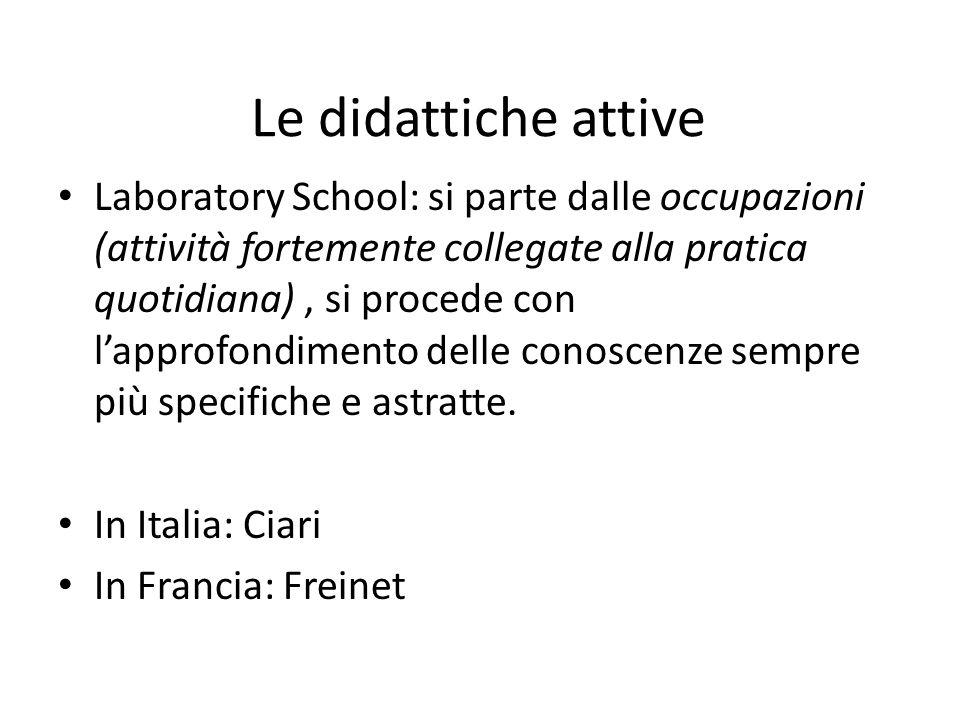 Le didattiche attive Laboratory School: si parte dalle occupazioni (attività fortemente collegate alla pratica quotidiana), si procede con l'approfond