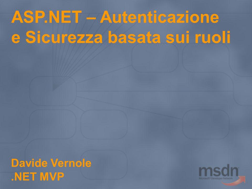 ASP.NET – Autenticazione e Sicurezza basata sui ruoli Davide Vernole.NET MVP
