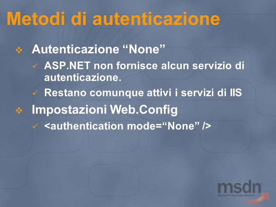 Metodi di autenticazione  Autenticazione None ASP.NET non fornisce alcun servizio di autenticazione.