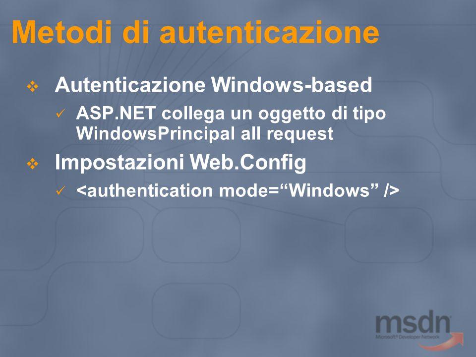 Metodi di autenticazione  Autenticazione Windows-based ASP.NET collega un oggetto di tipo WindowsPrincipal all request  Impostazioni Web.Config