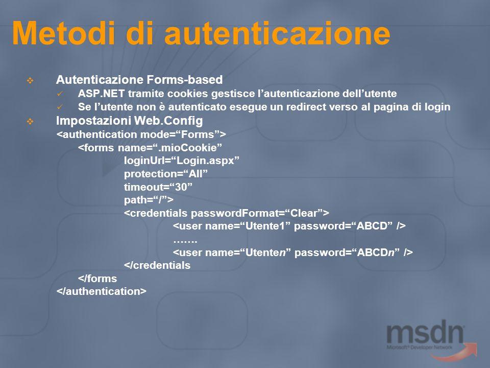 Metodi di autenticazione  Autenticazione Forms-based ASP.NET tramite cookies gestisce l'autenticazione dell'utente Se l'utente non è autenticato eseg
