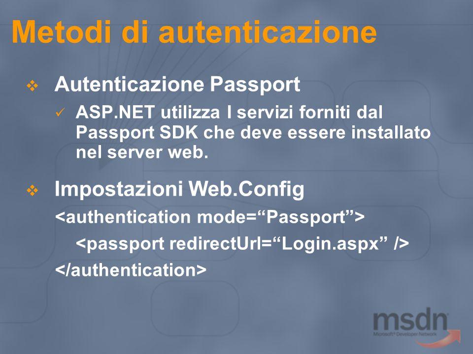 Metodi di autenticazione  Autenticazione Passport ASP.NET utilizza I servizi forniti dal Passport SDK che deve essere installato nel server web.  Im