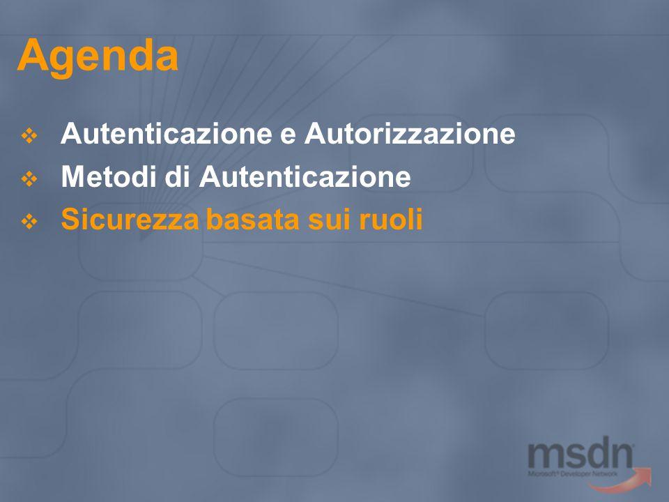 Agenda  Autenticazione e Autorizzazione  Metodi di Autenticazione  Sicurezza basata sui ruoli