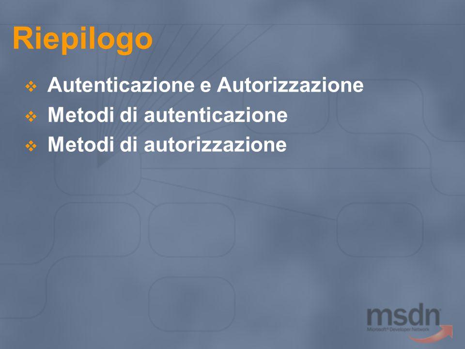 Riepilogo  Autenticazione e Autorizzazione  Metodi di autenticazione  Metodi di autorizzazione