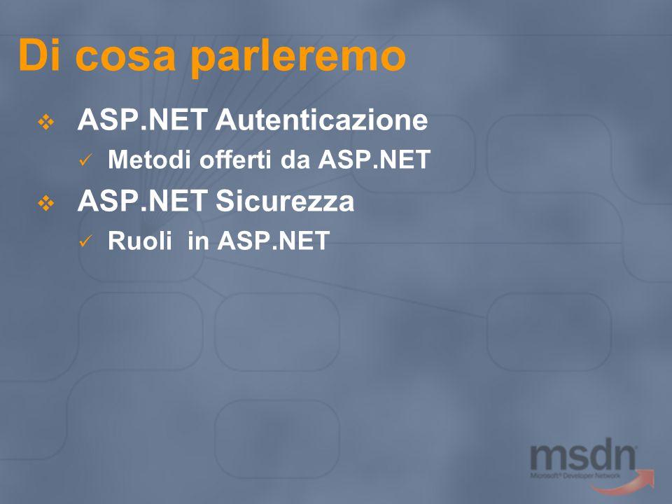 Di cosa parleremo  ASP.NET Autenticazione Metodi offerti da ASP.NET  ASP.NET Sicurezza Ruoli in ASP.NET
