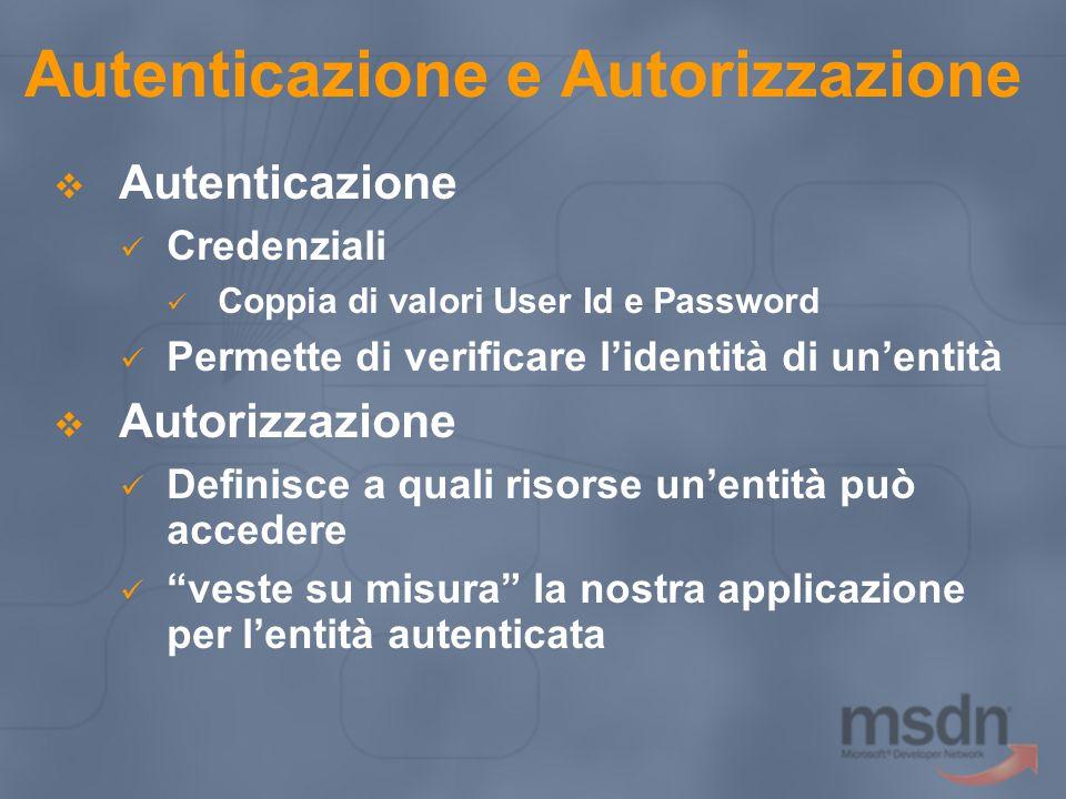 Autenticazione e Autorizzazione  Autenticazione Credenziali Coppia di valori User Id e Password Permette di verificare l'identità di un'entità  Autorizzazione Definisce a quali risorse un'entità può accedere veste su misura la nostra applicazione per l'entità autenticata