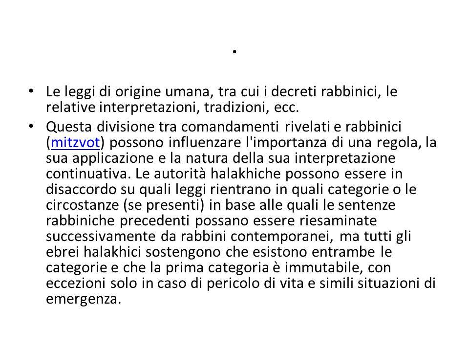 . Le leggi di origine umana, tra cui i decreti rabbinici, le relative interpretazioni, tradizioni, ecc. Questa divisione tra comandamenti rivelati e r