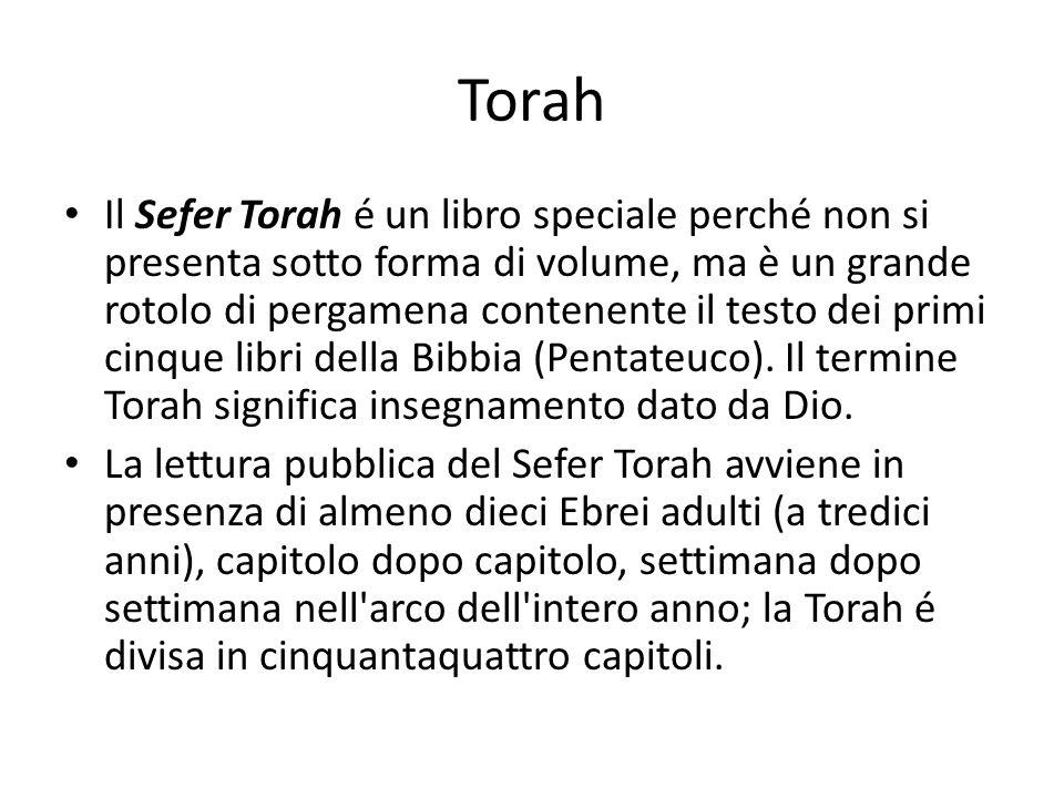 Torah Il Sefer Torah é un libro speciale perché non si presenta sotto forma di volume, ma è un grande rotolo di pergamena contenente il testo dei prim