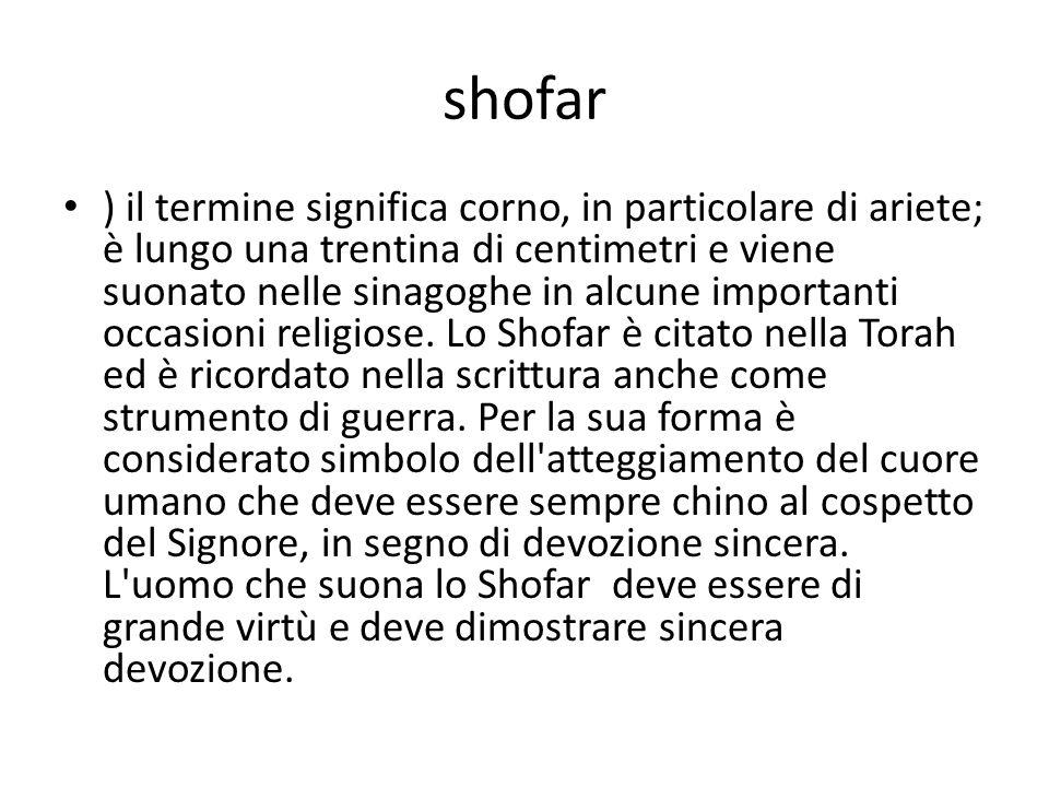 shofar ) il termine significa corno, in particolare di ariete; è lungo una trentina di centimetri e viene suonato nelle sinagoghe in alcune importanti