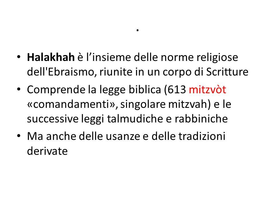 . Halakhah è l'insieme delle norme religiose dell'Ebraismo, riunite in un corpo di Scritture Comprende la legge biblica (613 mitzvòt «comandamenti», s