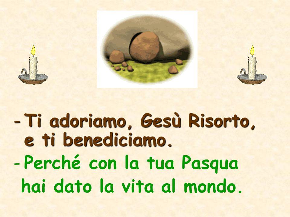 -Ti adoriamo, Gesù Risorto, e ti benediciamo. -Perché con la tua Pasqua hai dato la vita al mondo.