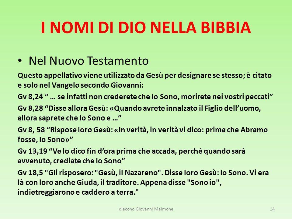 I NOMI DI DIO NELLA BIBBIA Nel Nuovo Testamento Questo appellativo viene utilizzato da Gesù per designare se stesso; è citato e solo nel Vangelo secon