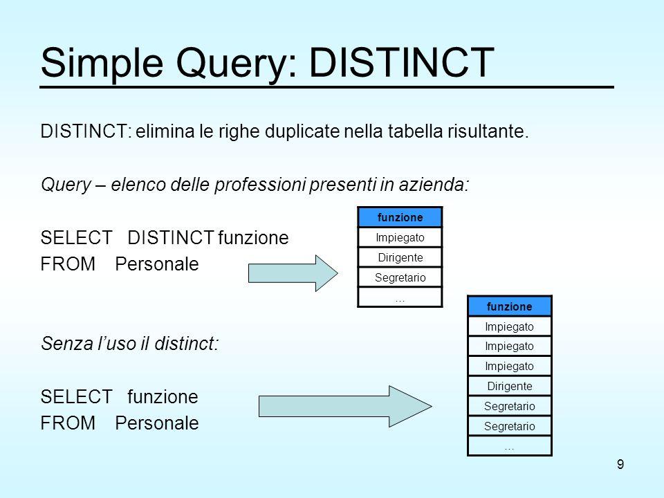 9 Simple Query: DISTINCT DISTINCT: elimina le righe duplicate nella tabella risultante. Query – elenco delle professioni presenti in azienda: SELECT D
