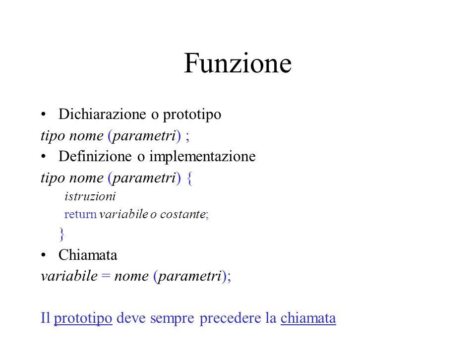 Funzione Dichiarazione o prototipo tipo nome (parametri) ; Definizione o implementazione tipo nome (parametri) { istruzioni return variabile o costant