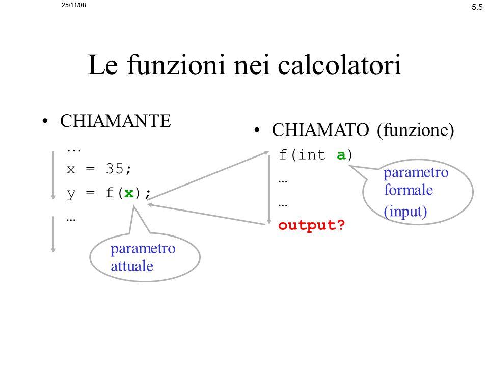 25/11/08 5.5 25/11/08 Le funzioni nei calcolatori CHIAMANTE … x = 35; y = f(x); … CHIAMATO (funzione) f(int a) … output? parametro attuale parametro