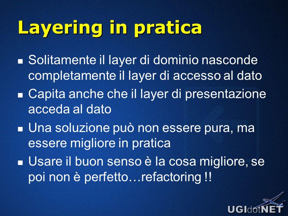 Layering in pratica Solitamente il layer di dominio nasconde completamente il layer di accesso al dato Capita anche che il layer di presentazione acceda al dato Una soluzione può non essere pura, ma essere migliore in pratica Usare il buon senso è la cosa migliore, se poi non è perfetto…refactoring !!