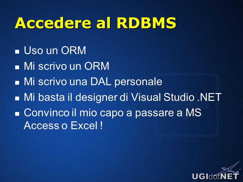 Accedere al RDBMS Uso un ORM Mi scrivo un ORM Mi scrivo una DAL personale Mi basta il designer di Visual Studio.NET Convinco il mio capo a passare a MS Access o Excel !