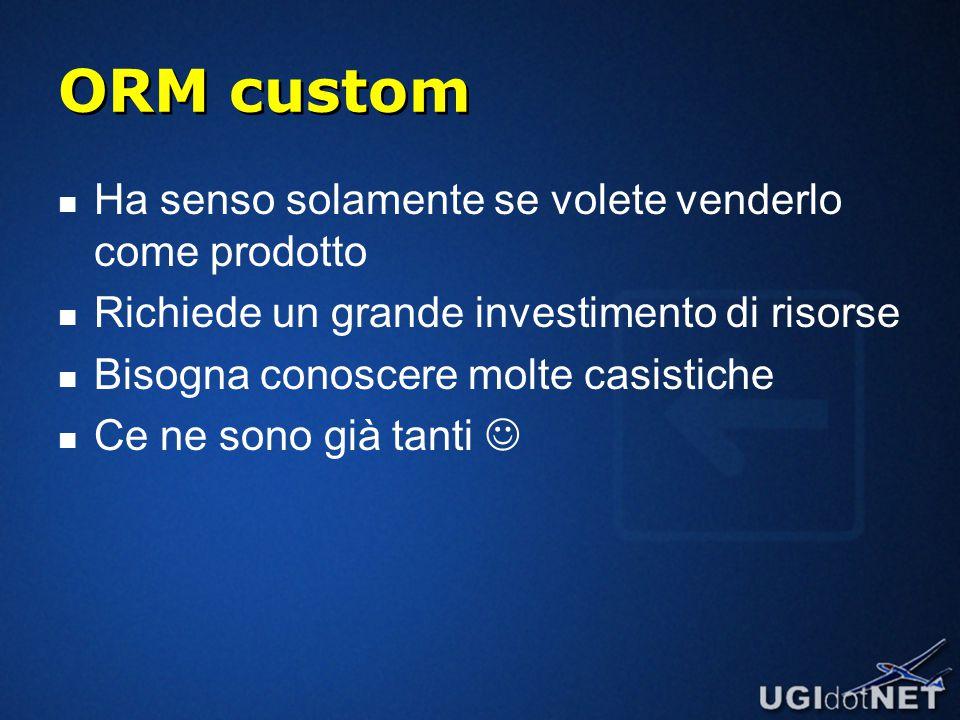 ORM custom Ha senso solamente se volete venderlo come prodotto Richiede un grande investimento di risorse Bisogna conoscere molte casistiche Ce ne sono già tanti