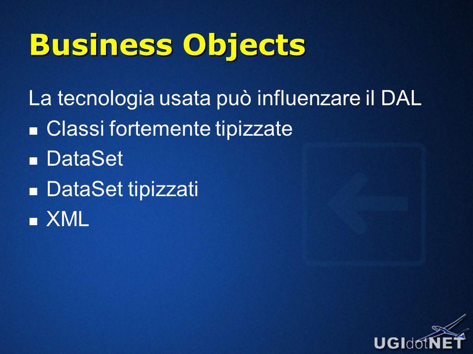 Business Objects La tecnologia usata può influenzare il DAL Classi fortemente tipizzate DataSet DataSet tipizzati XML