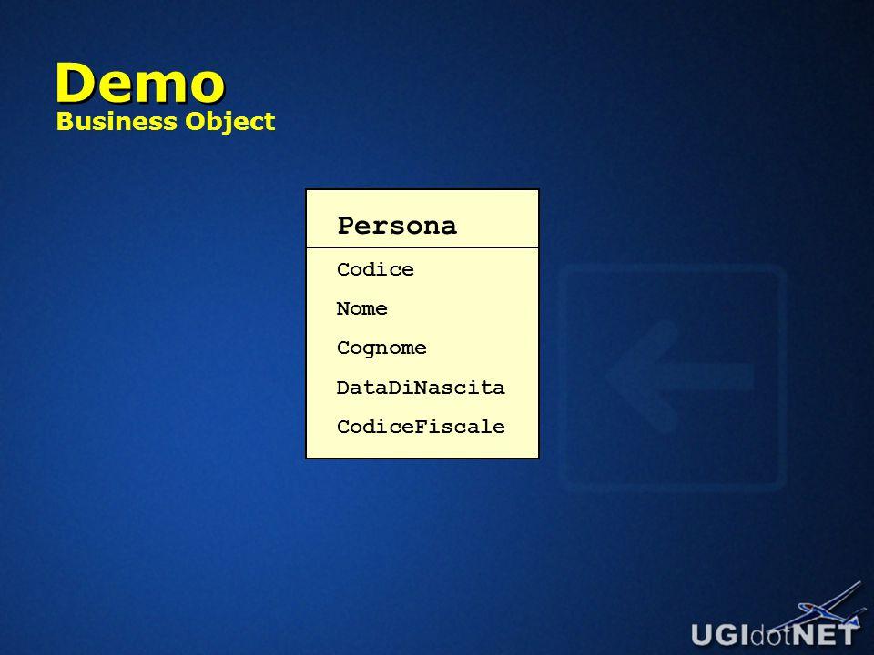 Demo Persona Codice Nome Cognome DataDiNascita CodiceFiscale Business Object