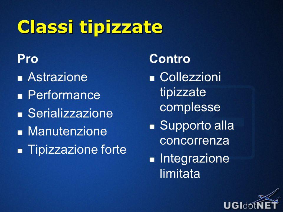 Classi tipizzate Pro Astrazione Performance Serializzazione Manutenzione Tipizzazione forte Contro Collezzioni tipizzate complesse Supporto alla concorrenza Integrazione limitata