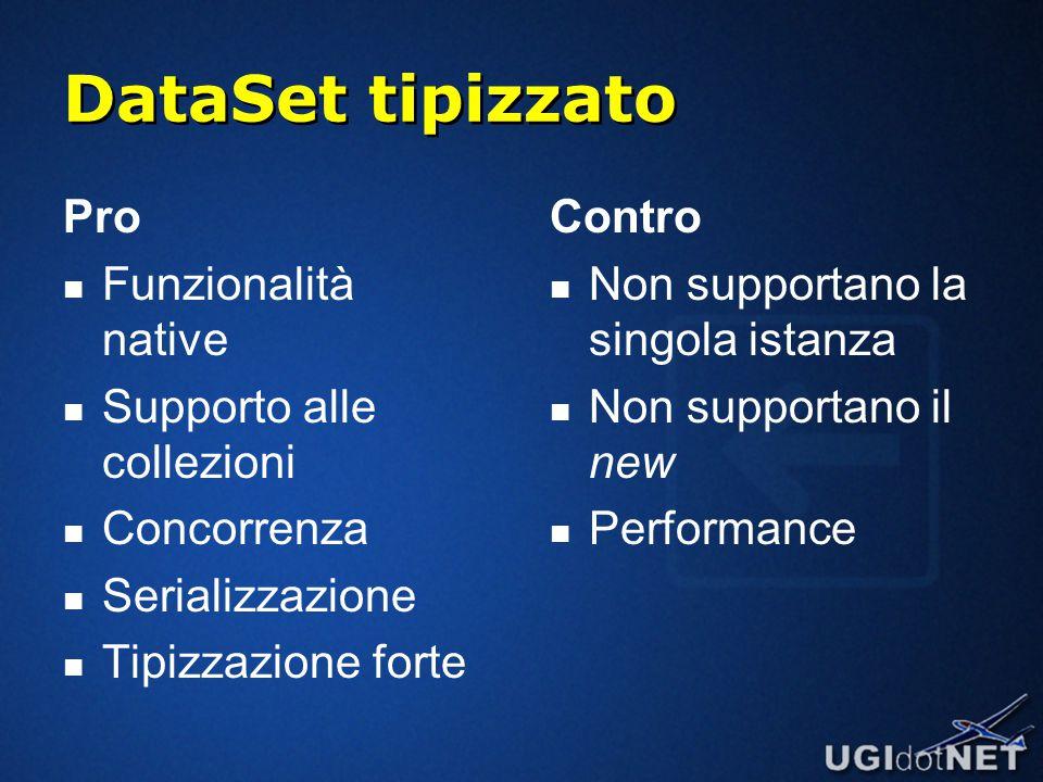 DataSet tipizzato Pro Funzionalità native Supporto alle collezioni Concorrenza Serializzazione Tipizzazione forte Contro Non supportano la singola istanza Non supportano il new Performance