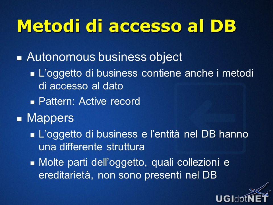 Metodi di accesso al DB Autonomous business object L'oggetto di business contiene anche i metodi di accesso al dato Pattern: Active record Mappers L'oggetto di business e l'entità nel DB hanno una differente struttura Molte parti dell'oggetto, quali collezioni e ereditarietà, non sono presenti nel DB