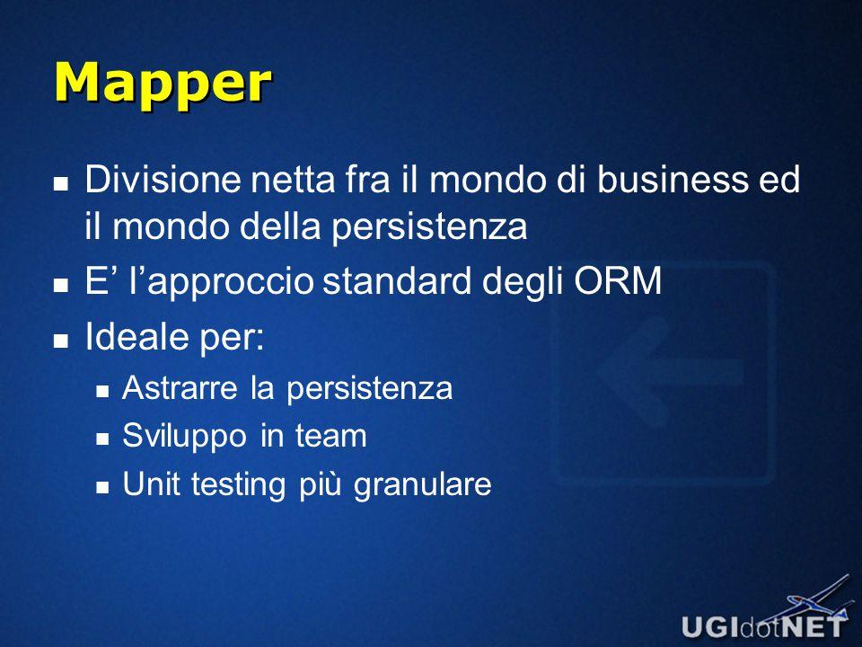 Mapper Divisione netta fra il mondo di business ed il mondo della persistenza E' l'approccio standard degli ORM Ideale per: Astrarre la persistenza Sviluppo in team Unit testing più granulare