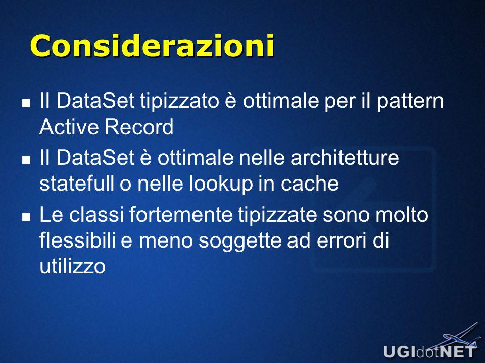 Considerazioni Il DataSet tipizzato è ottimale per il pattern Active Record Il DataSet è ottimale nelle architetture statefull o nelle lookup in cache Le classi fortemente tipizzate sono molto flessibili e meno soggette ad errori di utilizzo