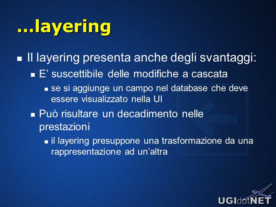 …layering Il layering presenta anche degli svantaggi: E' suscettibile delle modifiche a cascata se si aggiunge un campo nel database che deve essere visualizzato nella UI Può risultare un decadimento nelle prestazioni il layering presuppone una trasformazione da una rappresentazione ad un'altra