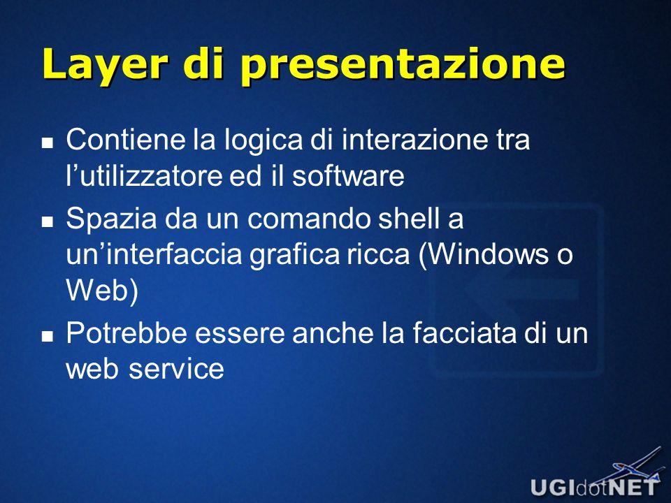 Layer di presentazione Contiene la logica di interazione tra l'utilizzatore ed il software Spazia da un comando shell a un'interfaccia grafica ricca (Windows o Web) Potrebbe essere anche la facciata di un web service