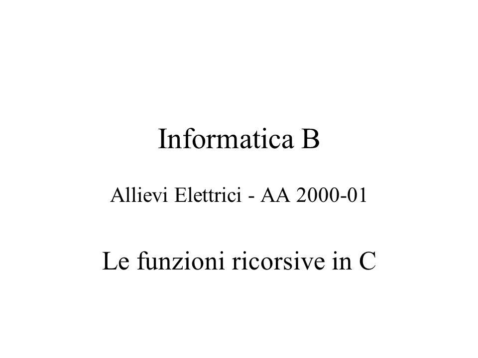 Informatica B Allievi Elettrici - AA 2000-01 Le funzioni ricorsive in C