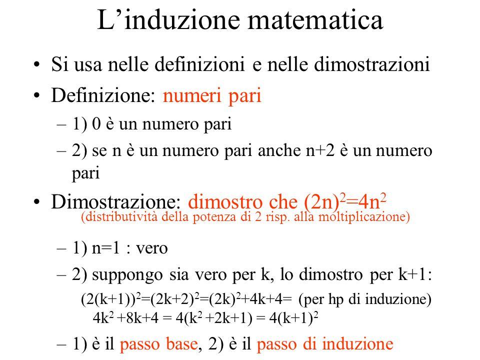 L'induzione matematica Si usa nelle definizioni e nelle dimostrazioni Definizione: numeri pari –1) 0 è un numero pari –2) se n è un numero pari anche n+2 è un numero pari Dimostrazione: dimostro che (2n) 2 =4n 2 (distributività della potenza di 2 risp.
