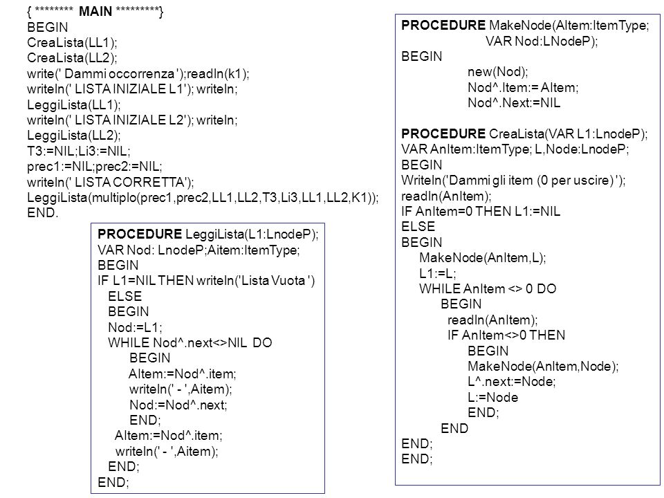 { ******** MAIN *********} BEGIN CreaLista(LL1); CreaLista(LL2); write( Dammi occorrenza );readln(k1); writeln( LISTA INIZIALE L1 ); writeln; LeggiLista(LL1); writeln( LISTA INIZIALE L2 ); writeln; LeggiLista(LL2); T3:=NIL;Li3:=NIL; prec1:=NIL;prec2:=NIL; writeln( LISTA CORRETTA ); LeggiLista(multiplo(prec1,prec2,LL1,LL2,T3,Li3,LL1,LL2,K1)); END.