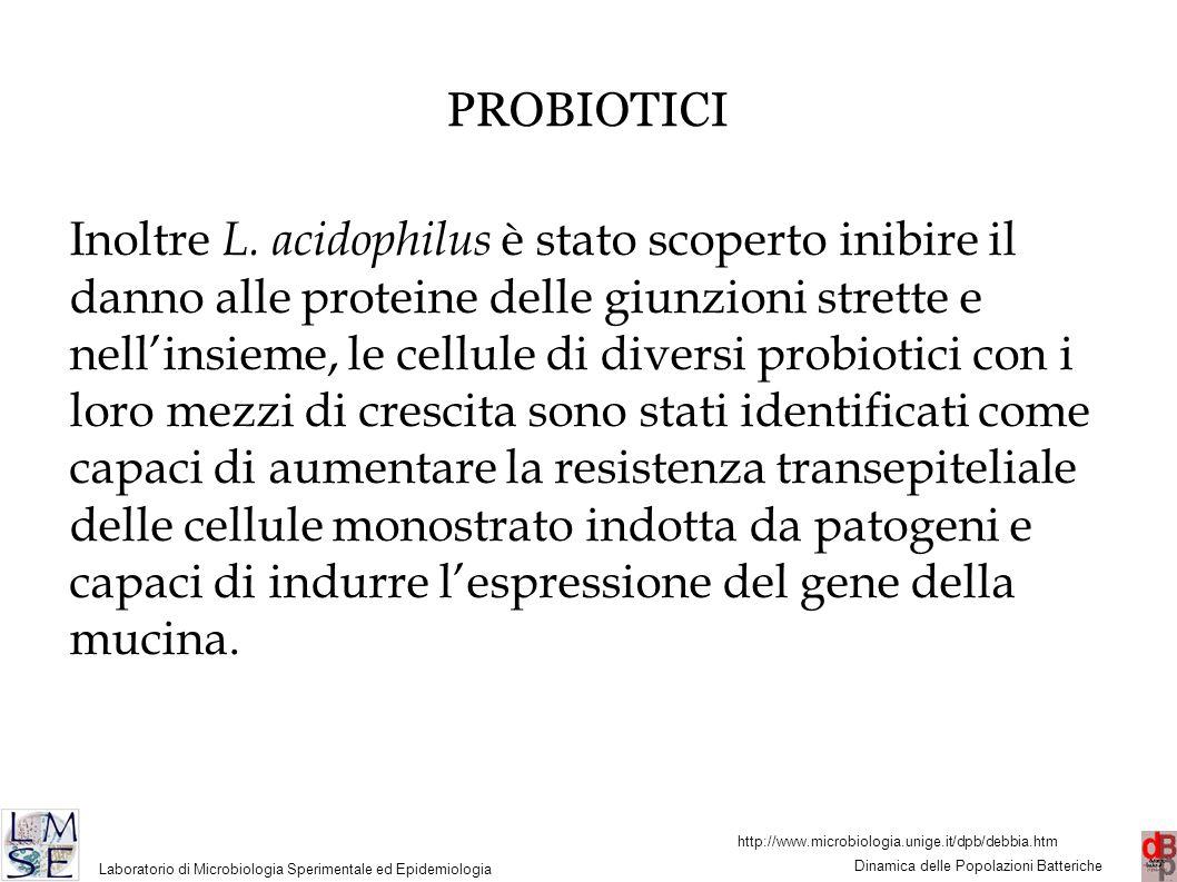 http://www.microbiologia.unige.it/dpb/debbia.htm Dinamica delle Popolazioni Batteriche Laboratorio di Microbiologia Sperimentale ed Epidemiologia 43 PROBIOTICI Inoltre L.