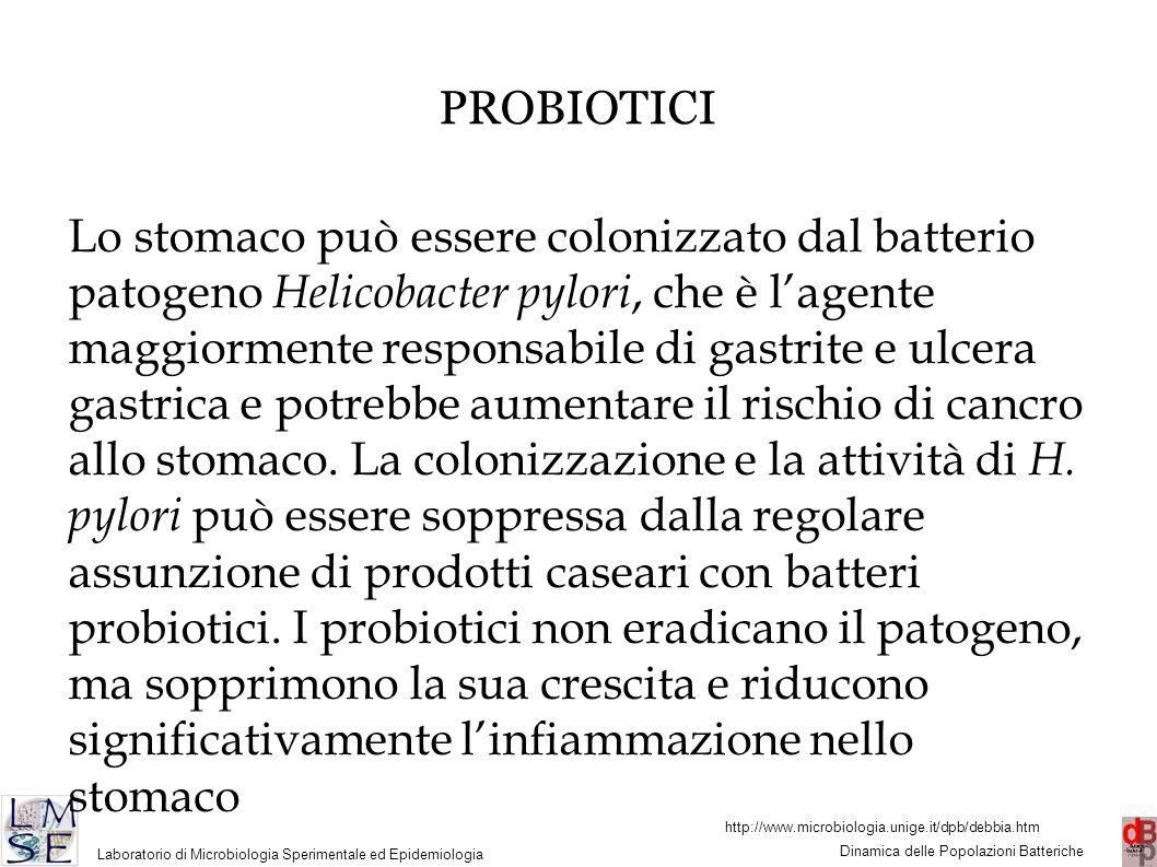 http://www.microbiologia.unige.it/dpb/debbia.htm Dinamica delle Popolazioni Batteriche Laboratorio di Microbiologia Sperimentale ed Epidemiologia 45 PROBIOTICI Lo stomaco può essere colonizzato dal batterio patogeno Helicobacter pylori, che è l'agente maggiormente responsabile di gastrite e ulcera gastrica e potrebbe aumentare il rischio di cancro allo stomaco.