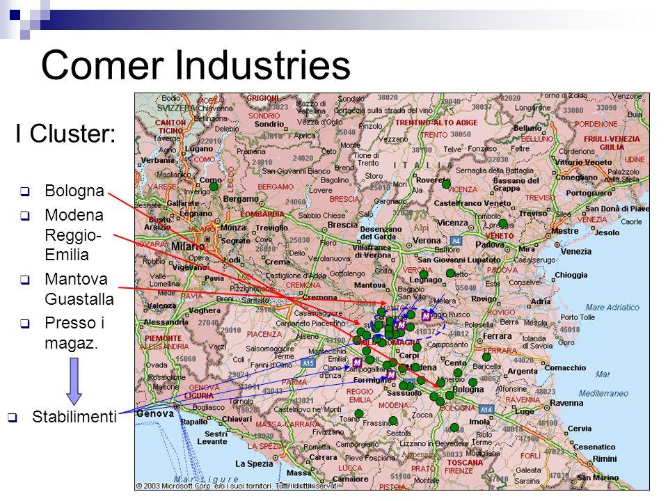 16 Comer Industries I Cluster:  Bologna  Modena Reggio- Emilia  Mantova Guastalla  Presso i magaz.