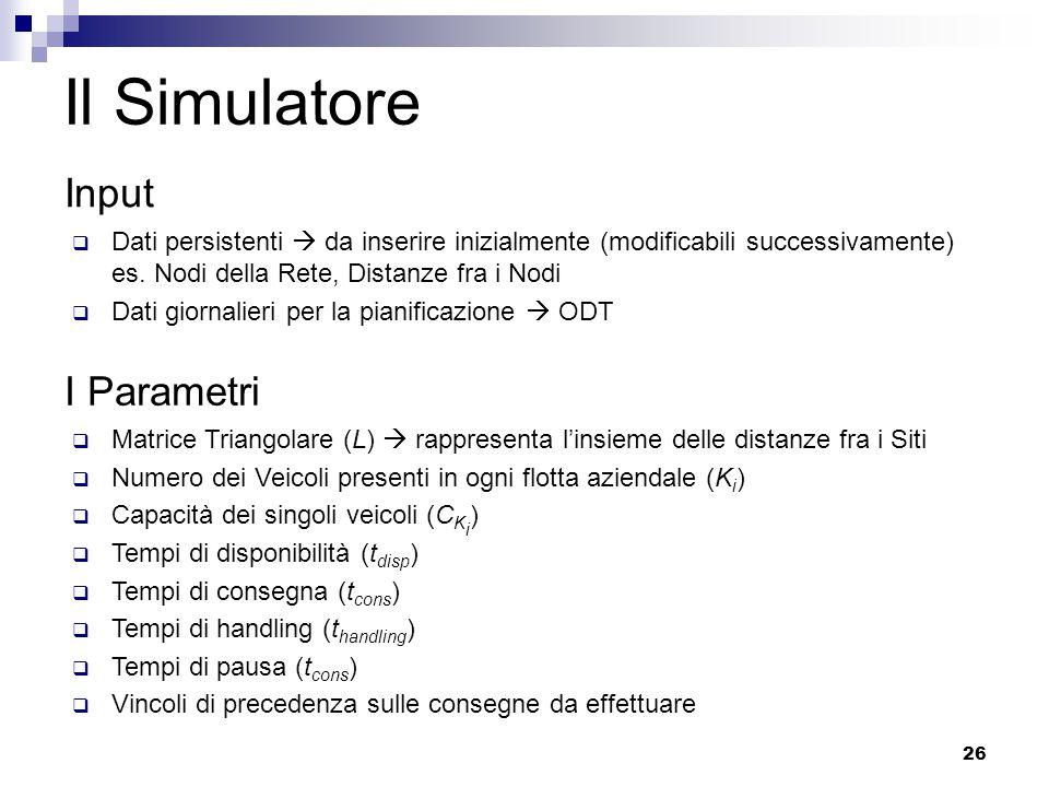 26 Il Simulatore Input  Dati persistenti  da inserire inizialmente (modificabili successivamente) es.