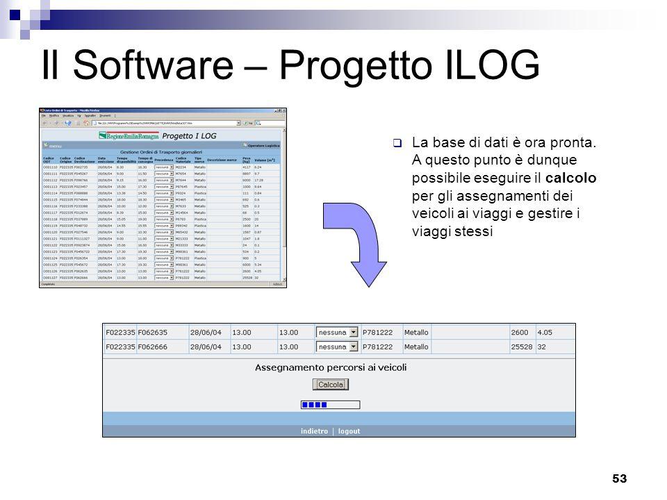 53 Il Software – Progetto ILOG  La base di dati è ora pronta.